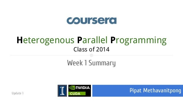 Heterogenous Parallel Programming Class of 2014  Week 1 Summary  Update 1  CUDA  Pipat Methavanitpong
