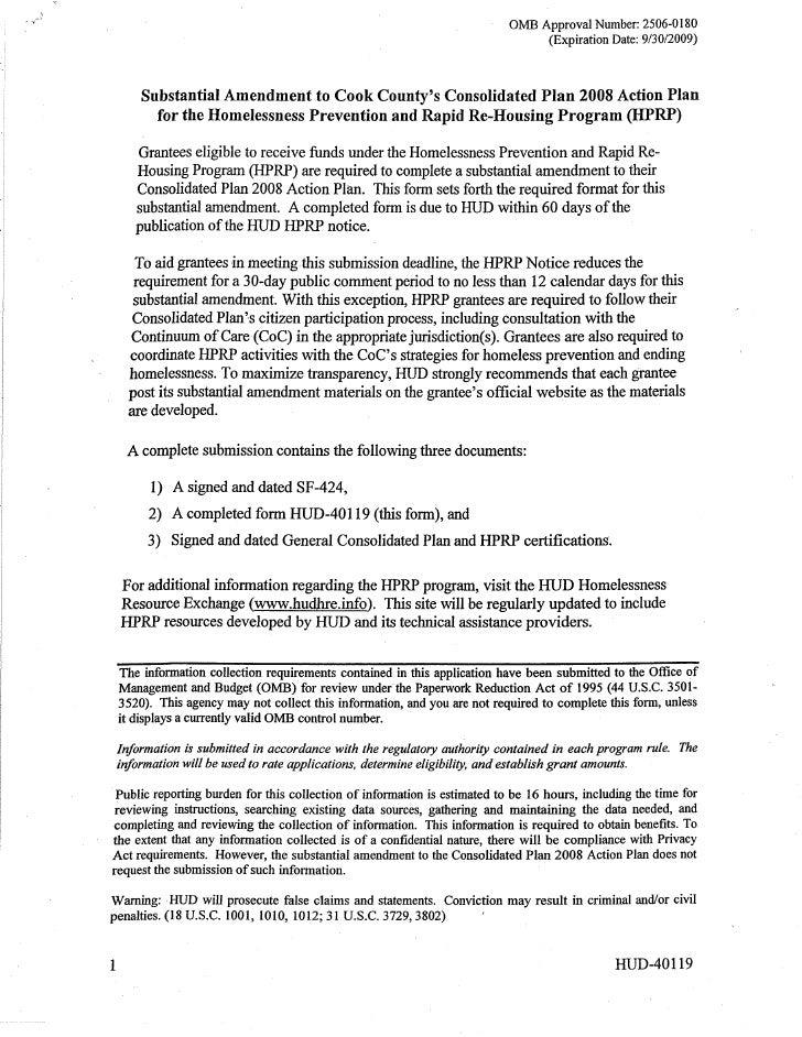 HHRP substantial amendment