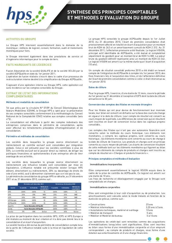 SYNTHESE DES PRINCIPES COMPTABLES                                                                                        E...