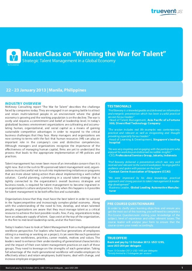 "MasterClass on ""Winning the War for Talent""                  Strategic Talent Management in a Global Economy  by trueventu..."