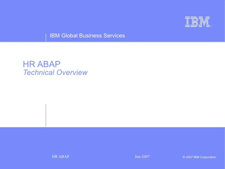HR ABAP   Technical Overview