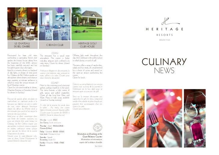 Heritage Resorts Mauritius: culinary news (ref.004.1)