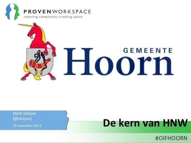 Presentatie open innovatie festival Hoorn HNW