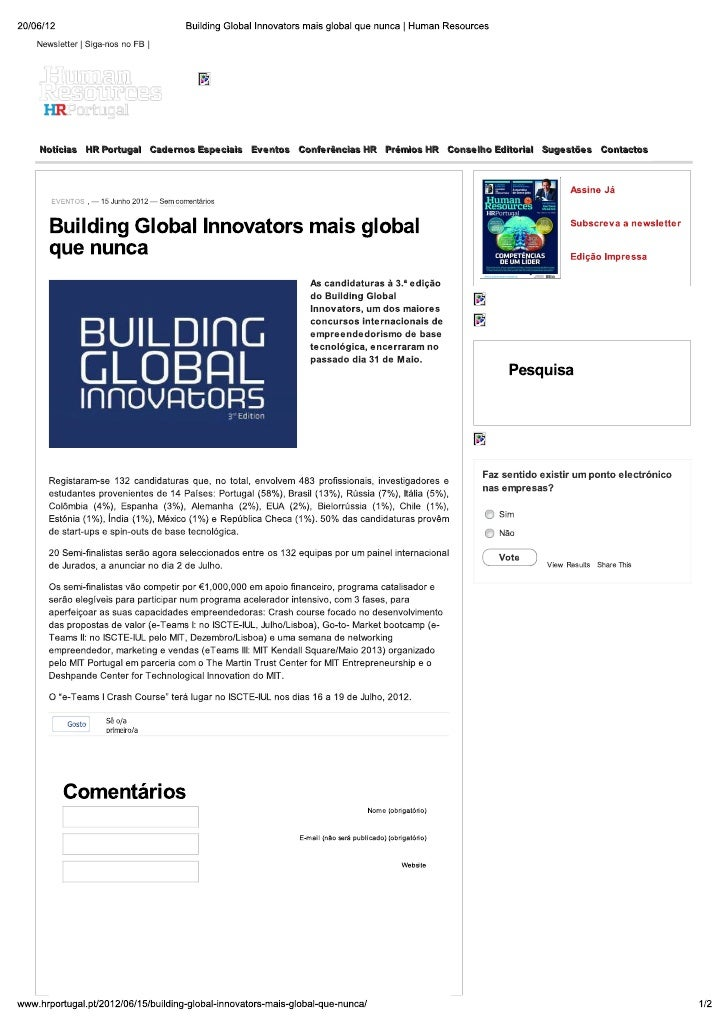 Building Global Innovators mais global que nunca