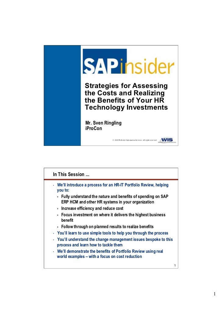 Managing cost and realising benefits from your SAP HCM or other HR system