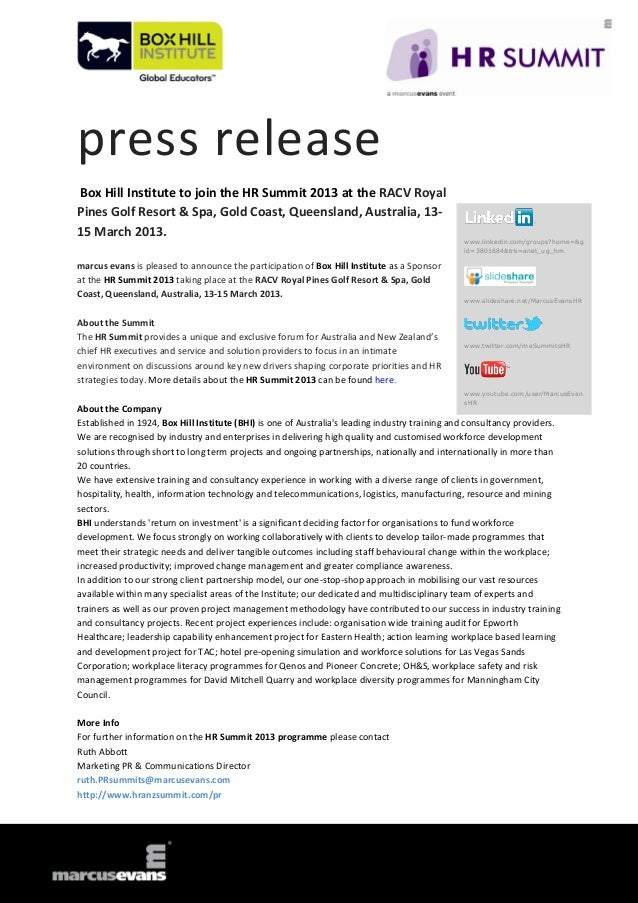 press releaseBox Hill Institute to join the HR Summit 2013 at the RACV RoyalPines Golf Resort & Spa, Gold Coast, Queenslan...