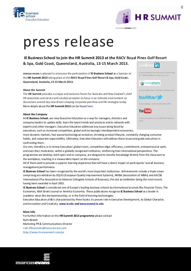 press releaseIE Business School to join the HR Summit 2013 at the RACV Royal Pines Golf Resort& Spa, Gold Coast, Queenslan...