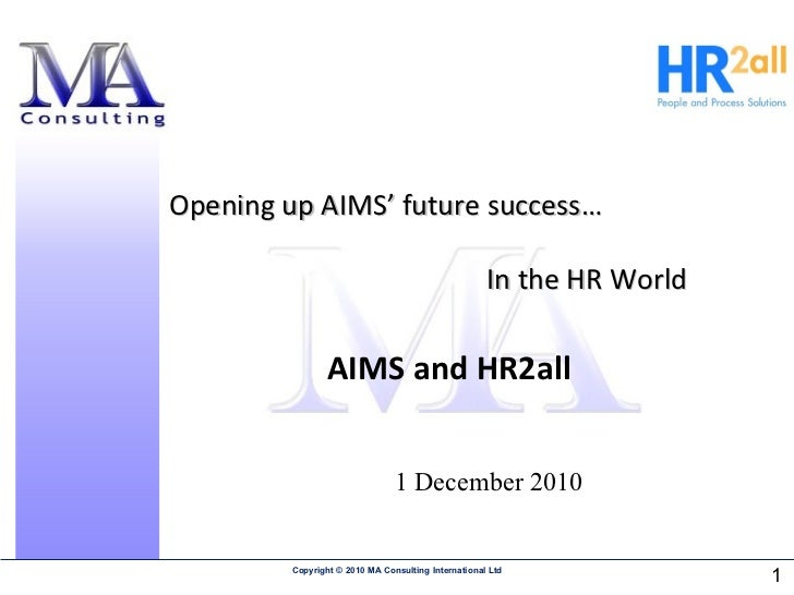 Hr2all offer to AIMS