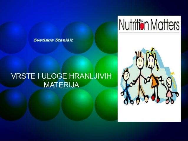 Hranljive materije u ljudskoj ishrani – nutricijensi