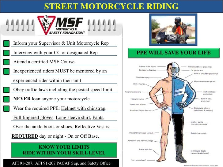STREET MOTORCYCLE RIDING<br />Inform your Supervisor & Unit Motorcycle Rep<br />Interview with your CC or designated Rep<b...