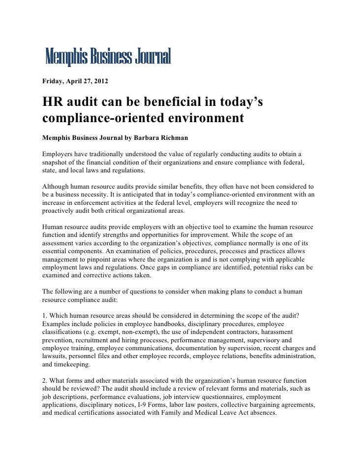 Friday, April 27, 2012HR audit can be beneficial in today'scompliance-oriented environmentMemphis Business Journal by Barb...