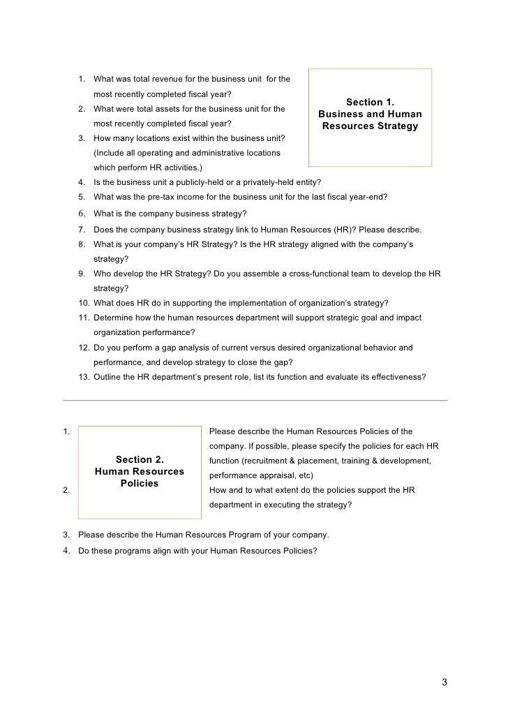 Hr audit questionnaire copy for Sample hr audit report template
