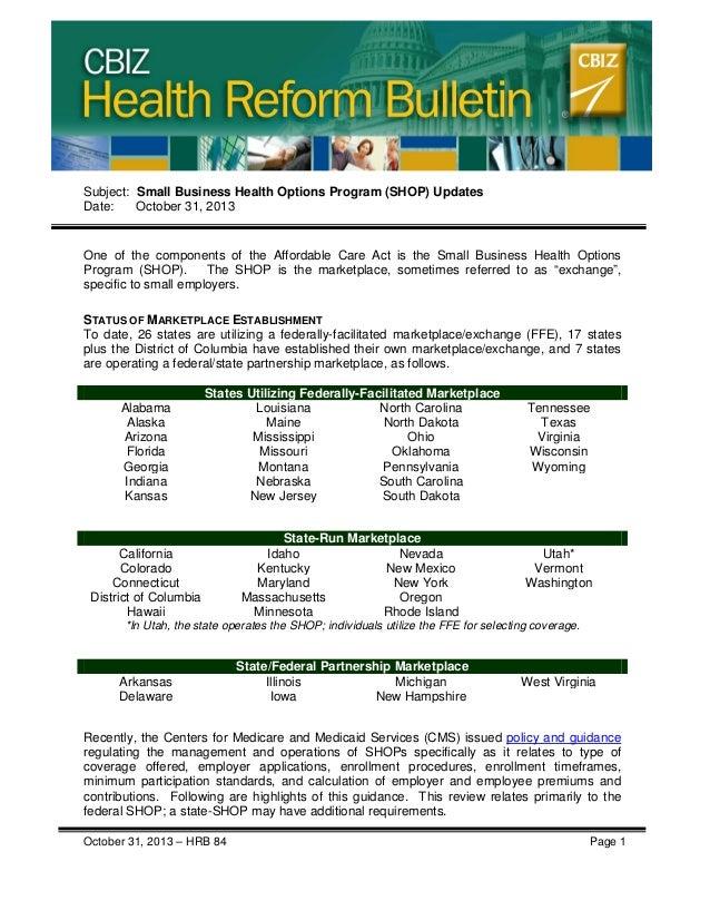 Health Care Reform - Small Business Health Options Program (SHOP) Updates