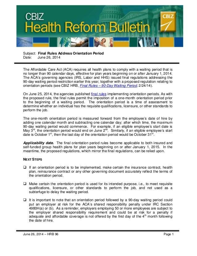 Health Reform Bulletin - Orientation Period Final Rules