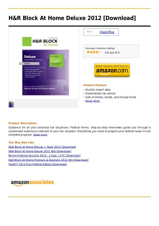 H&R Block At Home Deluxe 2012 [Download]                                                                Price :           ...