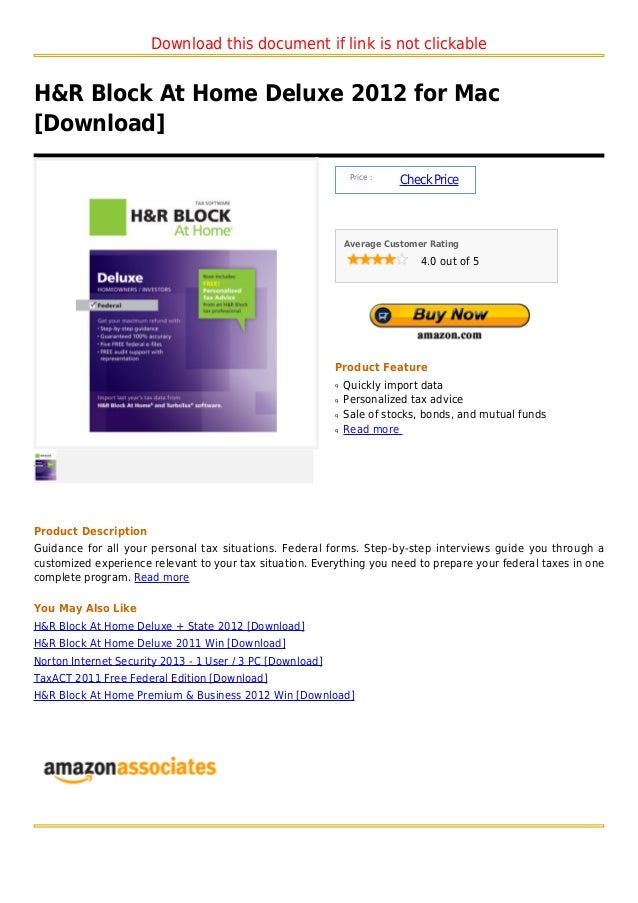 Download this document if link is not clickableH&R Block At Home Deluxe 2012 for Mac[Download]                            ...