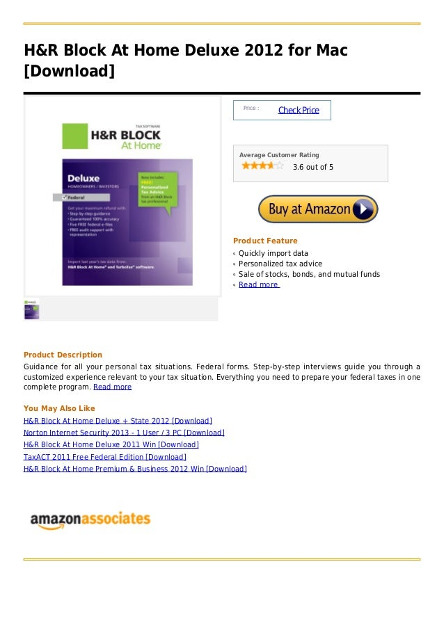 H&R Block At Home Deluxe 2012 for Mac[Download]                                                                Price :    ...