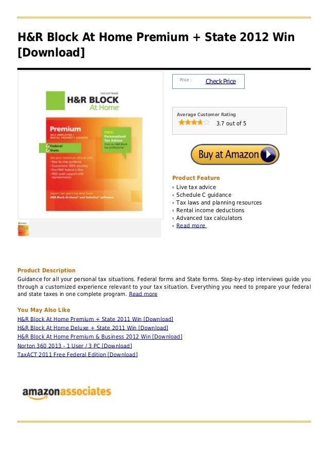 H&R Block At Home Premium + State 2012 Win[Download]                                                               Price :...