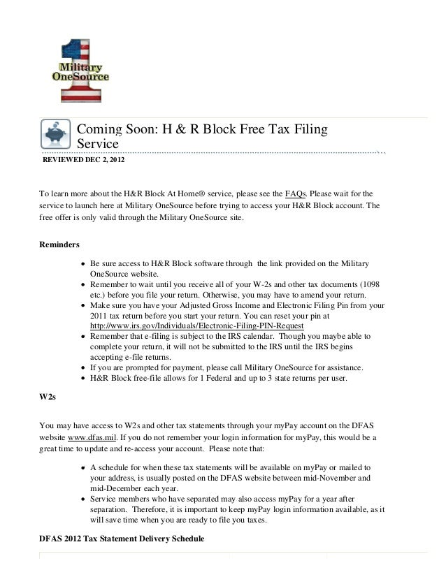 Military OneSource (MOS) will launch the H&R Block At Home® free online tax filing service