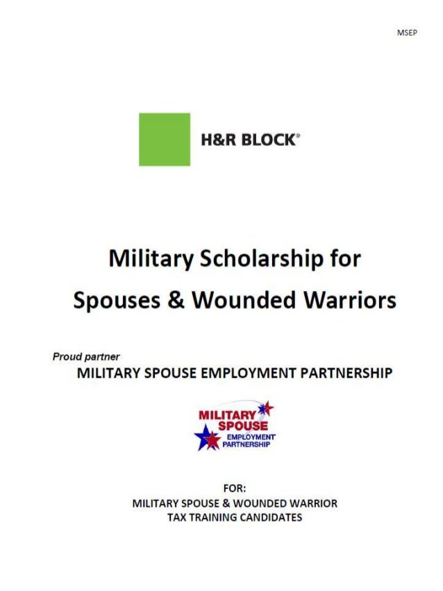 H & R Block Military Scholarship for Spouses & Wounded Warriors