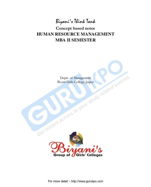 Biyani's Think Tank Concept based notes HUMAN RESOURCE MANAGEMENT MBA II SEMESTER Deptt. of Management Biyani Girls Colleg...