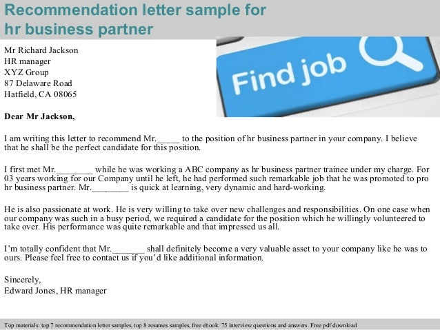 letters of recommendation for a business