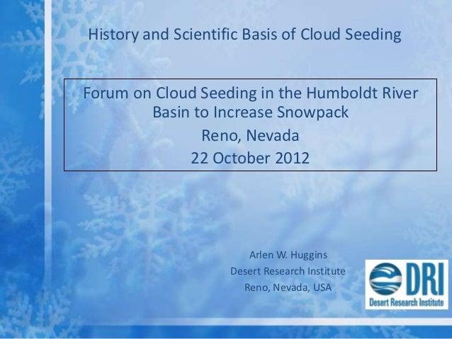 DRI Cloud Seeding Forum - Science and Program History