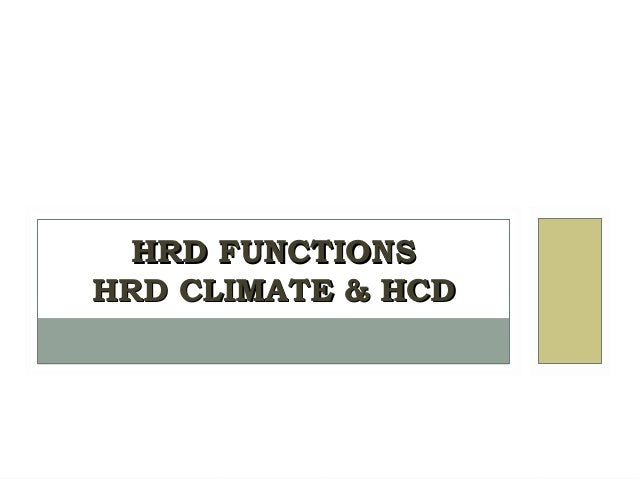 Hrd functions,Climate & Human Capital Devlp.