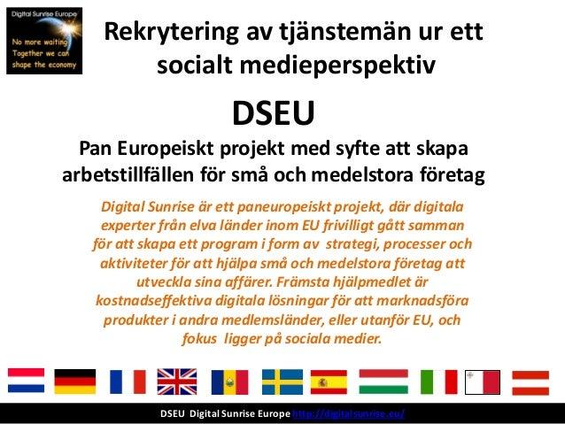 Rekrytering av tjänstemän ur ett        socialt medieperspektiv                            DSEU  Pan Europeiskt projekt me...