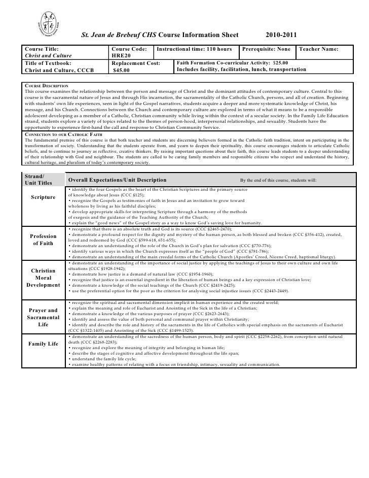 St. Jean de Brebeuf CHS Course Information Sheet                                                  2010-2011Course Title:  ...