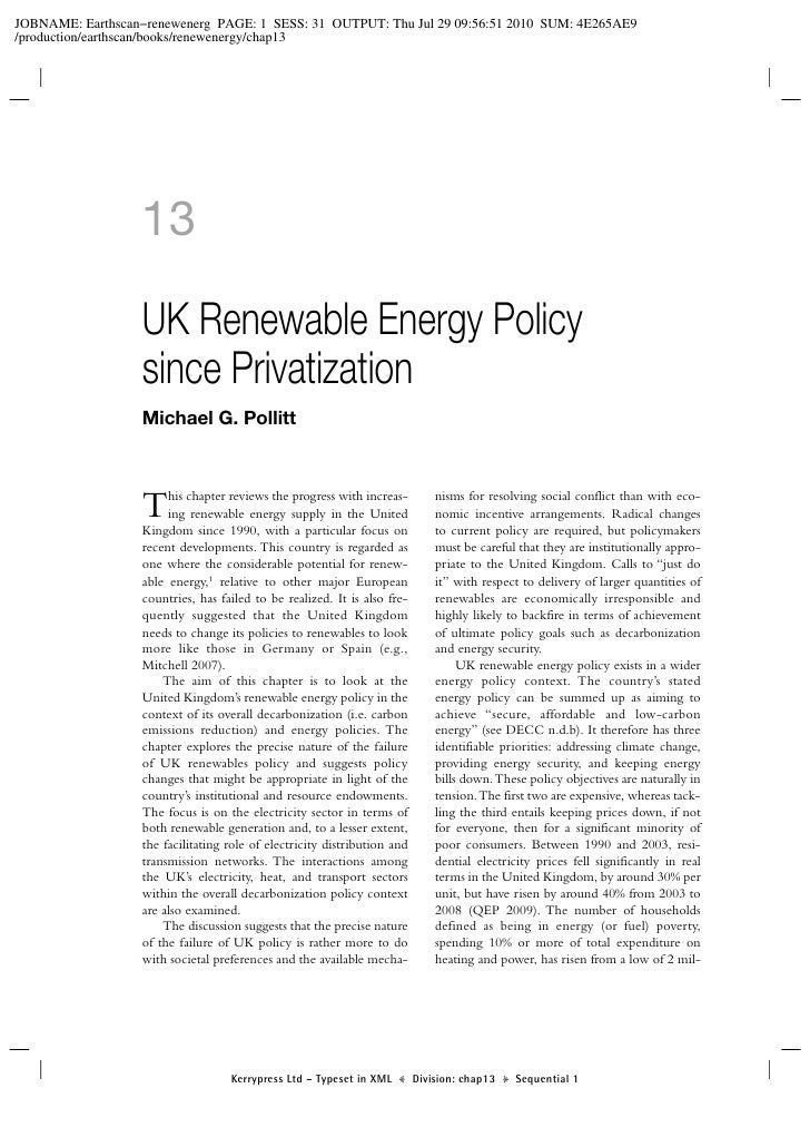 Chapter 13: UK Renewable Energy Policy since Privatization