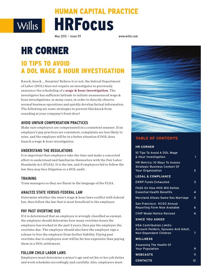 HUMAN CAPITAL PRACTICE                       HRFocus                       May 2012 — Issue 59                          ww...
