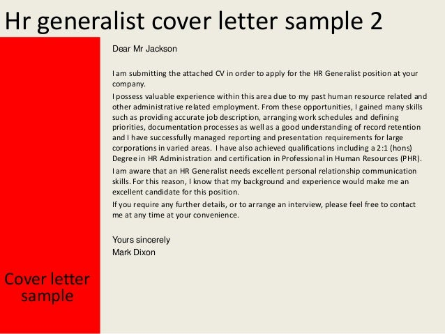 Cover Letter For Hr Generalist. Stonevoices.co