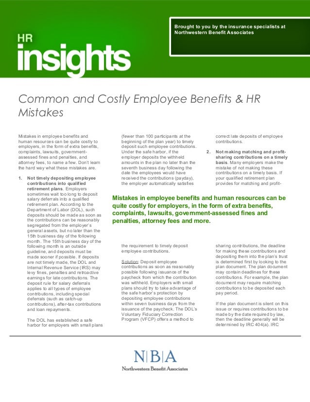 Common and Costly Employee Benefits and HR Mistakes