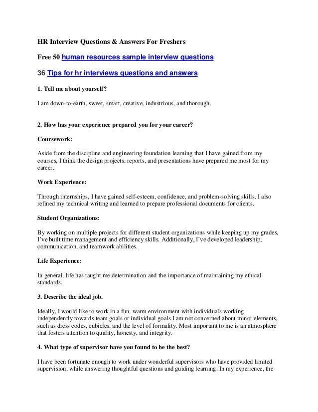 HR Interview Questions & Answers For FreshersFree 50 human resources sample interview questions36 Tips for hr interviews q...