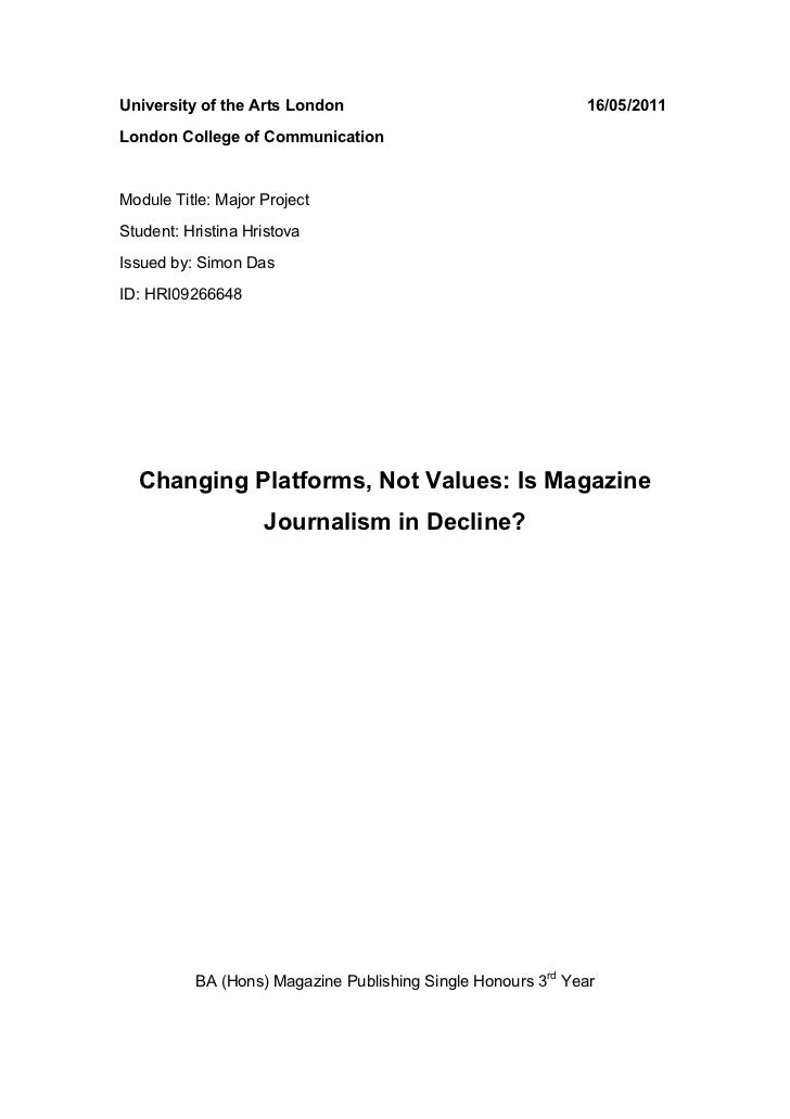 Changing Platforms, Not Values: Is Magazine Journalism in Decline?