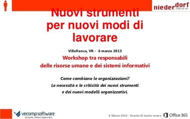 Nuovi strumenti  per nuovi modi di       lavorare             Villafranca, VR - 6 marzo 2013          Workshop tra respons...