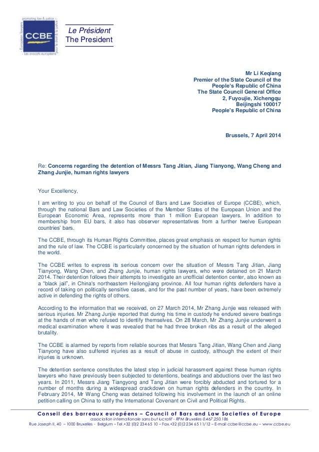 Chine : le CCBE dénonce l'arrestation de ' avocats