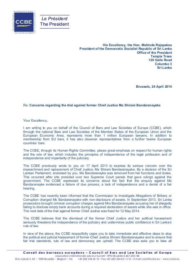Sri Lanka : le CCBE intervient contre la démission forcée de Mme  Shirani Bandaranayake