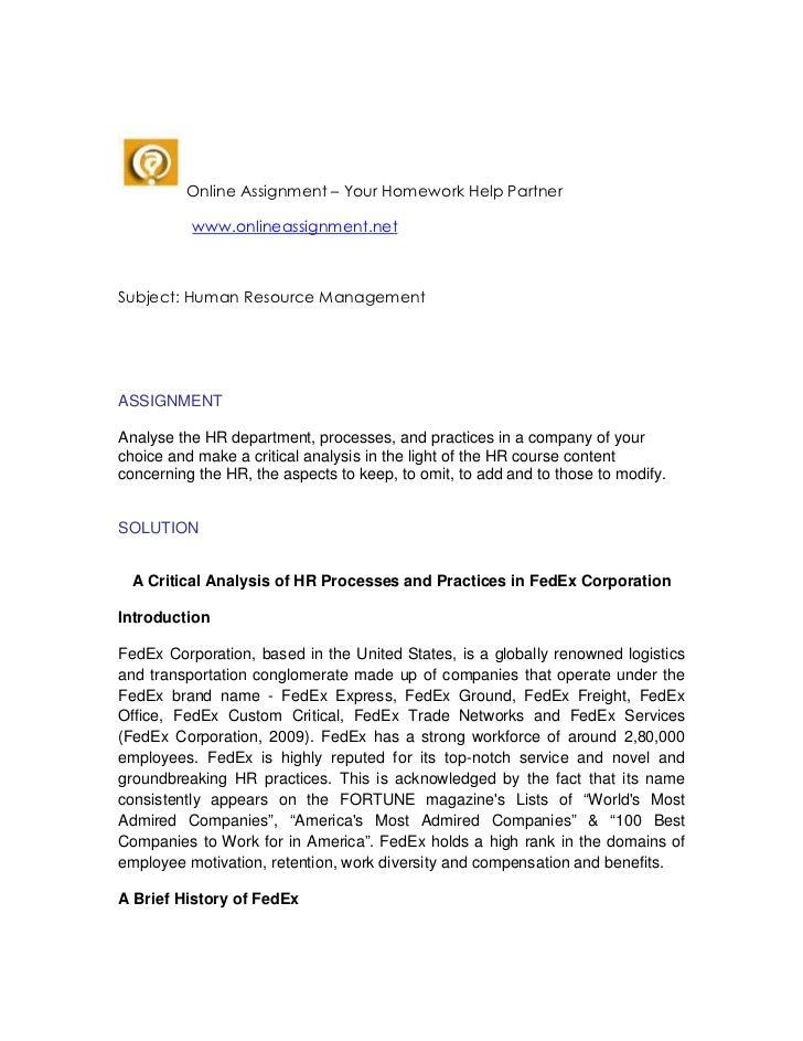 Online Assignment – Your Homework Help Partner          www.onlineassignment.netSubject: Human Resource ManagementASSIGNME...