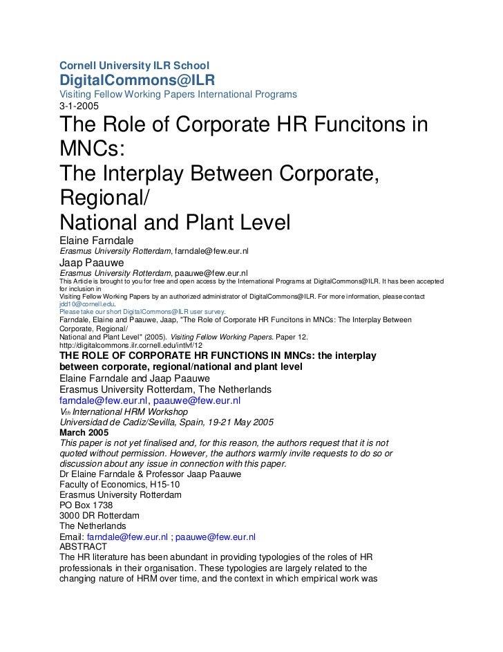 Cornell University ILR SchoolDigitalCommons@ILRVisiting Fellow Working Papers International Programs3-1-2005The Role of Co...