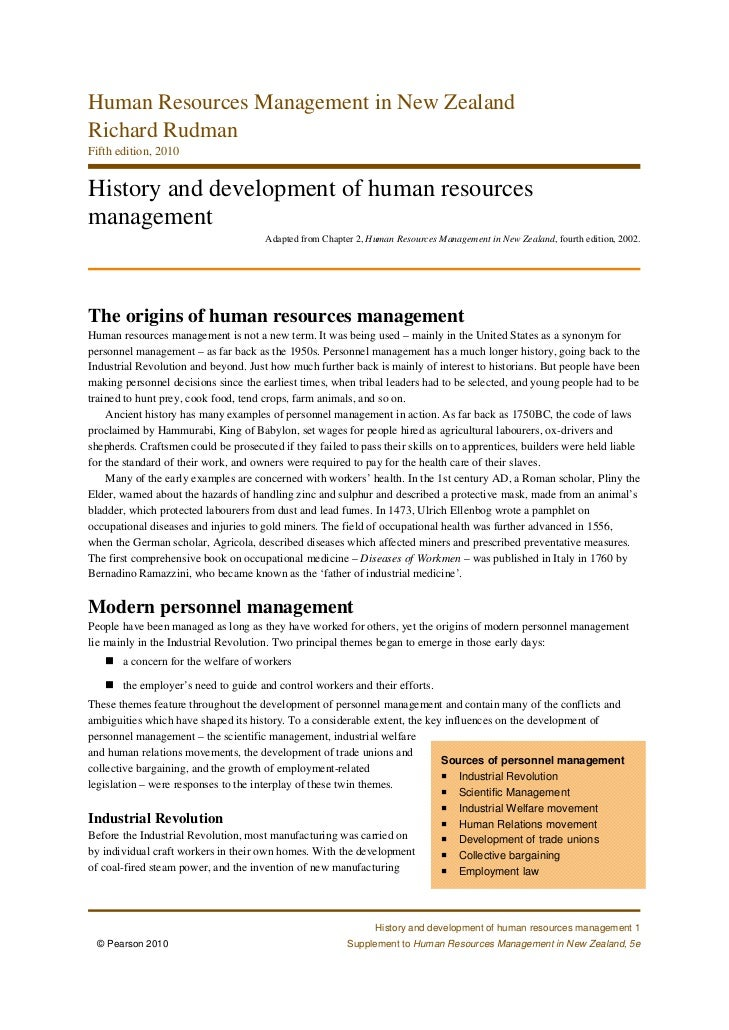Human Resources Management in New ZealandRichard RudmanFifth edition, 2010History and development of human resourcesmanage...