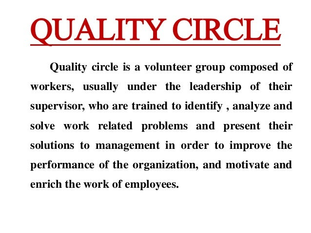 hrm quality circles A quality circle is a volunteer group composed of workers definitions on hrm - origin of hrm - objectives of hrm quality circles - objectives of quality circle.