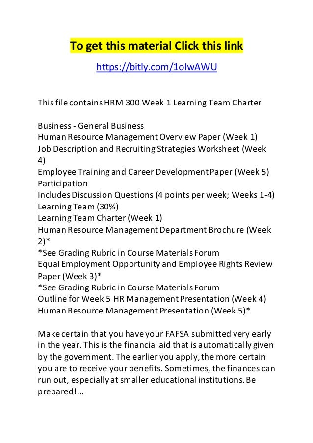 hrm 300 job description worksheet
