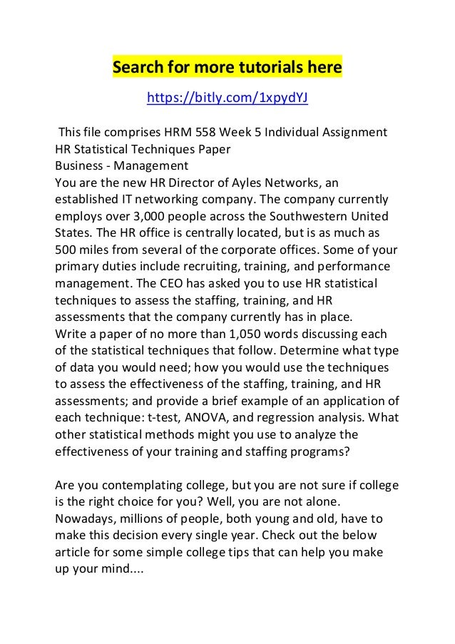 hr statistical techniques paper This file comprises hrm 558 week 5 individual assignment hr statistical techniques paper business - management you are the new hr director of ayles networks,.