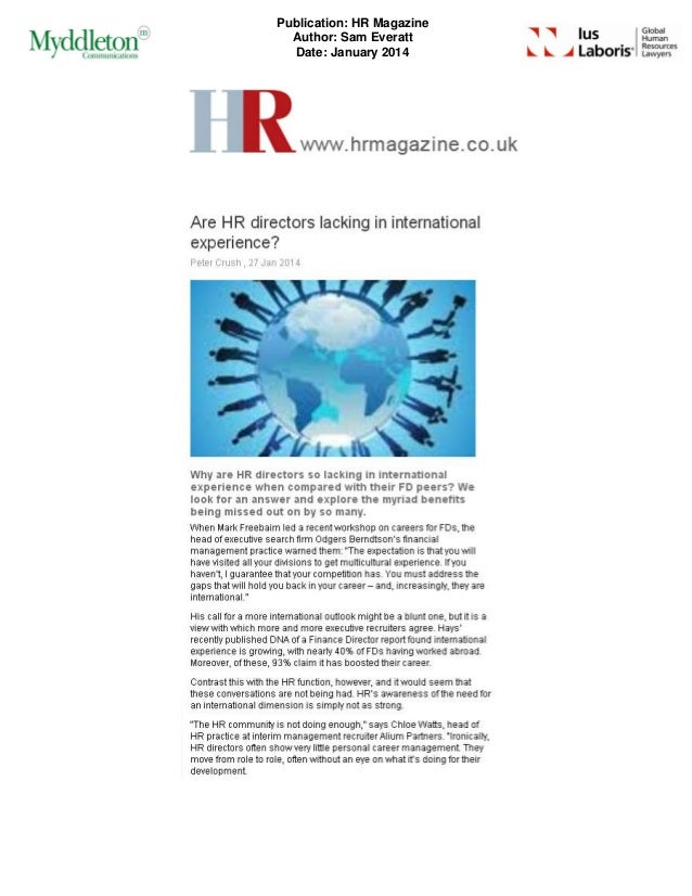 Publication: HR Magazine Author: Sam Everatt Date: January 2014