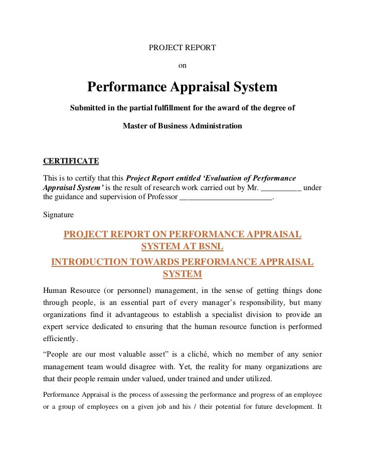 PROJECT REPORT                                             on              Performance Appraisal System         Submitted ...