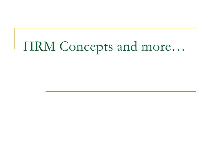 HRM Concepts and more…