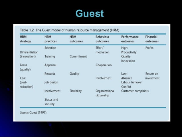 david guest model of hrm However, the original concept of hrm had a strong theoretical base that still has relevance to the practice of people management as david guest (1987: 505) commented at the time: 'human resource management appears to lean heavily on theories of commitment and motivation and other ideas derived from the field of organizational behaviour'.