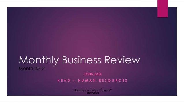 Business review presentation slides quiz